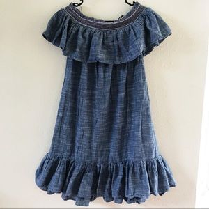 Chambray Off The Shoulder Ruffle Dress